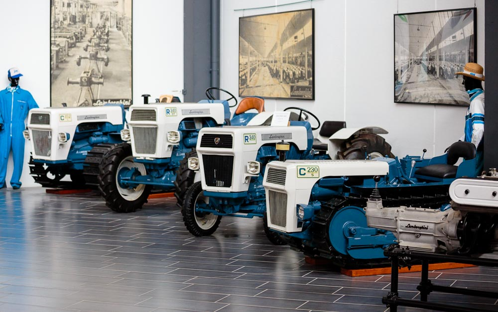 Tractors at Lamborghini Museum Exhibition Space