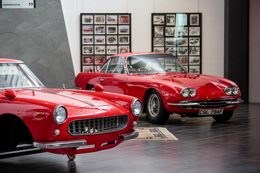 Ferrari cars at Lamborghini Museum Exhibition Space
