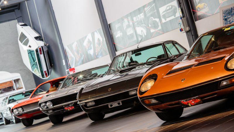 Cars inside the exhibition space at F. Lamborghini Museum